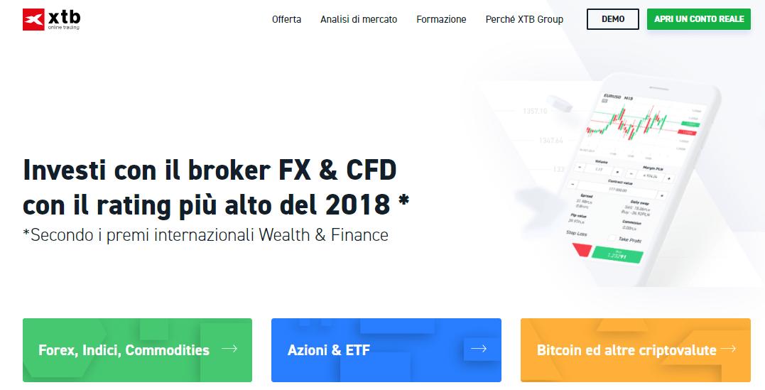 XTB broker forex e CFD