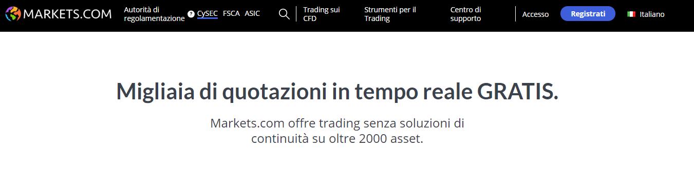 Markets.com quotazioni in tempo reale