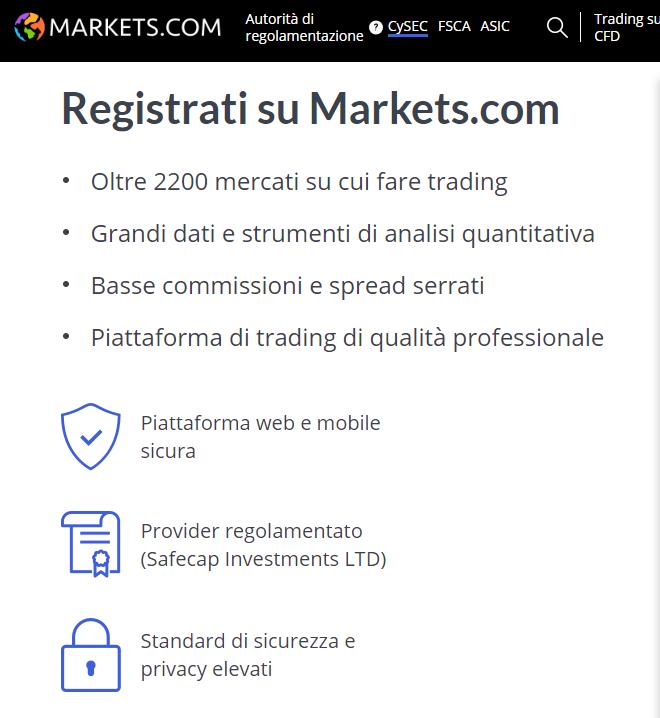 Markets.com vantaggi